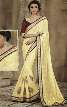 Picture of Luxurious Biscuit Cream Color Exclusive Saree