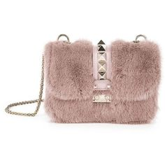 d4c23b49deca Valentino Rocklock Small Mink Fur   Leather Shoulder Bag ( 4