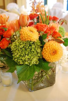tulips, roses, dahlias and hydrangea floral arrangement - shades of orange and green - great fall colors