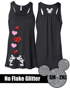 BRILLO Mickey beso Flowy tanque / / camiseta de Disneyland / / Disney Cenicienta Castillo Disney ropa / / Mickey (brillo de neón rosa blanco, rojo,)
