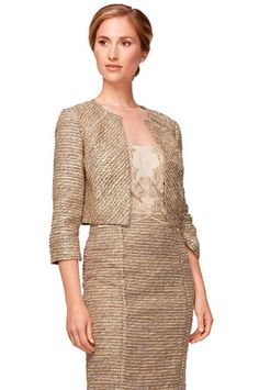 Kay Unger New York Lace Detail Jacket in Gold Multi