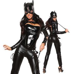 2015 Sexy Night-club Costume Women Girl Latex Catwoman Catsuit Dance Outfit #Enjoy #Catsuit