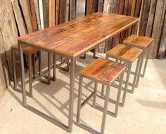 Mesa churrasqueira ferro e madeira maciça