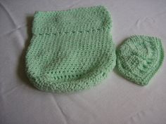 Mint Green baby cocoon. Matching textured hat. Free shipping by HooksBrushesandBeads on Etsy