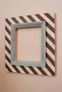8x10 Wood Distressed Picture Frame Diagonal Stripes Chocolate on Cream with Robin's Egg Etched Mounted Trim