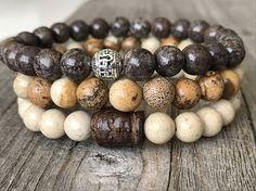 Gemstone Buddha bracelet Surf men beach bracelet stretch