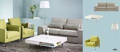 Colour scheme of couch, rug and coffee table. KIVIK two-seat sofa with Tenö light grey cover, MELLBY armchairs with Dansbo yellow-green cover and TOFTERYD white high-gloss coffee table