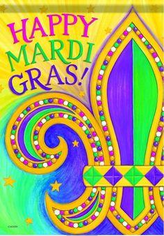 Mardi Gras Time Garden Flag