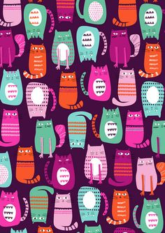 Colored cats pattern by Dawn Bishop Cat Pattern, Pattern Art, I Love Cats, Crazy Cats, Pretty Patterns, Pattern Illustration, Stuffed Animal Patterns, Surface Pattern Design, Design Patterns