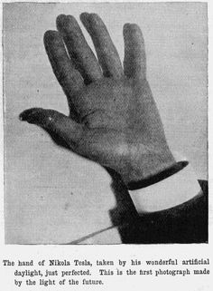 "Tesla's hand, as taken in a photograph to show his ""artificial daylight"" apparatus (1899)."