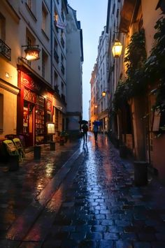 Rainy Street in Paris, France | great photo...