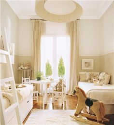 The Girly Big Girl Room, gender neutral, all cream bedroom
