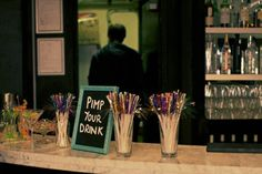 Pimp your drink bar! A fun way for your guests to add their own personal touches to their drinks.  This could be used in addition to, or instead of a signature drink.