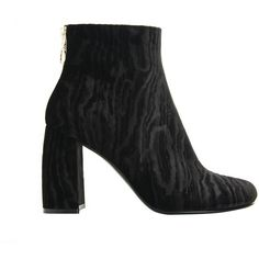 Stella Mccartney Black Velvet Ankle Boots (2.020 RON) ❤ liked on Polyvore featuring shoes, boots, ankle booties, black, velvet ankle boots, black ankle boots, black bootie boots, black chunky heel booties and black booties
