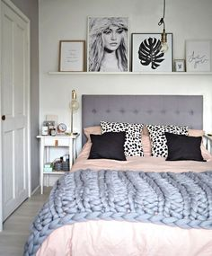 grey + blush bedroom