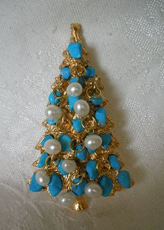 Swoboda Christmas Tree Pin Brooch with FW Pearl Dangles Turquoise Pretty | eBay