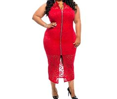PEGGYNCO Womens Plus Size Sleeveless Lace Zipper Front Dress in Red Size 3XL ** Read more reviews of the product by visiting the link on the image.
