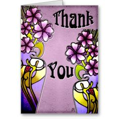 Flowers in Craftsman Painted Vases (Thank You) Greeting Cards