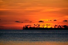 Romantic sunset as seen from Wakatobi Dive Resort in Sulawesi, Indonesia