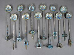 Nice Set of 12 Old Chinese Gilt Silver Enamel Spoons Decorated with Buddha | eBay