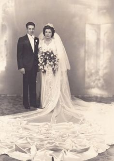 :::::::::::: Vintage Photograph ::::::::::::  Beautiful couple on their wedding day.