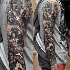 32 Best Black And Grey Sleeve Tattoos Images Arm Tattoo Arm