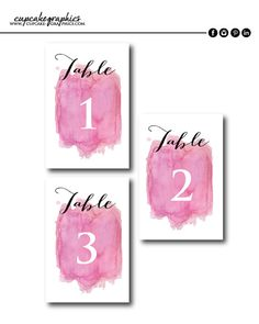 Table Numbers  Pink Water Color by CupcakeGraphics1 on Etsy
