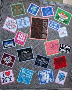 T-shirt Quilt Custom Full size with gingham accents: 100.00