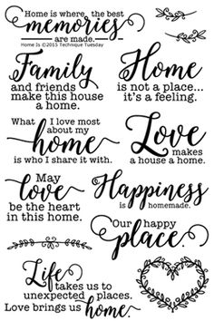 Document your family life with the Home Is Clear Acrylic Stamp Set from the Memory Keepers Studio. There are 13 acrylic stamps by Technique Tuesday included in Wood Burning Crafts, Wood Burning Art, Vasos Vintage, Etiquette Vintage, Cricut Fonts, Svg Files For Cricut, Creation Deco, Cricut Creations, Family Quotes
