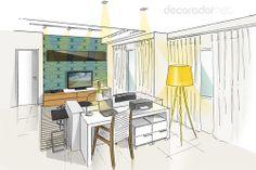 Profissionais oferecem projetos de decoração através de site - Home office integrado a área social