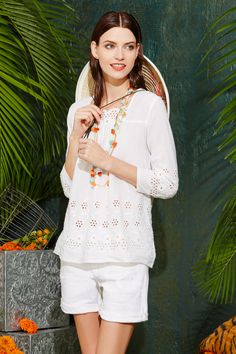 Roberta Roller Rabbit's Azubah top adds an effortless touch to any spring or summer travel outfit.