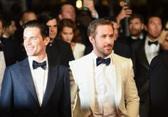 Actors Matt Bomer and Ryan Gosling arrive on the red carpet before the premiere screening of 'The Nice Guys'.