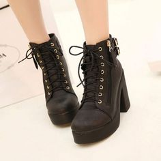 Wool Lace Up Suede Chunky Boots Women's Boots