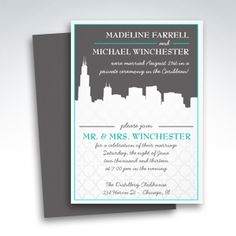 reception only urban chicago skyline wedding invitations - Wedding Invitations Chicago