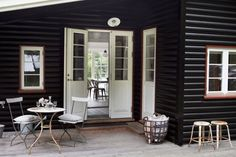 Black (or charcoal) with white trim