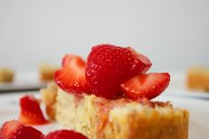 vegan pound cake loaf with strawberries