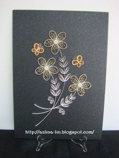 Lin Handmade Greetings Card: Quilled flower arrangements in gold, silver and white