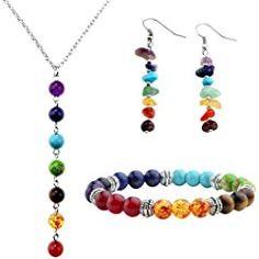 JOVIVI 7 Chakra Pendant Healing Point Reiki Yoga Bracelet & Necklace Gemstone Earring Jewelry Set Mothers Day Gift w/Box