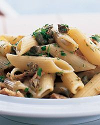 Penne with Tuna and Capers | This delicious dish takes only about 10 minutes to make, combining high-quality jarred tuna packed in olive oil, capers, parsley and basil.