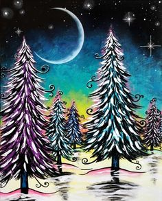 Join us for a Paint Nite event Sun Dec 2018 at 22 Mountain Avenue Bloomfield, CT. Purchase your tickets online to reserve a fun night out! Beginner Art, Beginner Painting, Simple Acrylic Paintings, Easy Paintings, Wine Painting, Painting & Drawing, Christmas Paintings, Christmas Art, Diy Y Manualidades