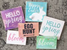 Easter and spring distressed wood signs for sale in my Etsy shop or follow my easy DIY instructions to make your own.
