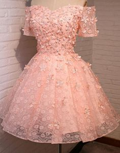 Off Shoulder Short Sleeve Peach Lace Beaded Homecoming Prom Dresses, A – SposaDesses