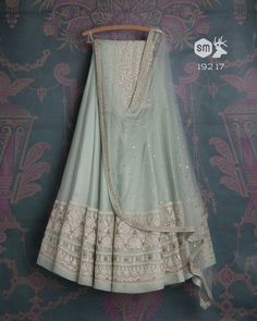 soft teal lehenga with badla dupatta and white threadwork matching dupatta Desi Wedding Dresses, Indian Wedding Outfits, Pakistani Outfits, Indian Outfits, Indian Clothes, Dress Indian Style, Indian Dresses, Indian Attire, Indian Wear