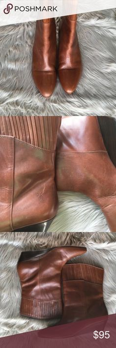 Frye Sam Boots Leather is pleated on the top. Small wedge heel. Gently used. Leather has some scuffs as shown in photos. Boots are still in excellent condition! Frye Shoes Ankle Boots & Booties