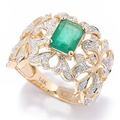 emerald, diamonds, and gold
