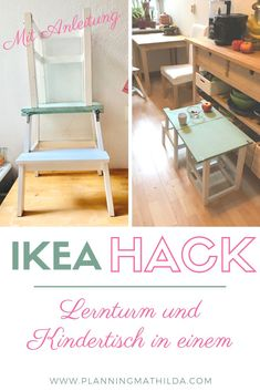Learning tower and children's table in one - an Ikea Hack Play Kitchen Diy, Ikea Hack Kitchen, Cool Bedroom Furniture, Baby Furniture, Ikea Kids, Ikea Hack Learning Tower, Ikea Interior, Kitchen Helper, Reclaimed Wood Furniture