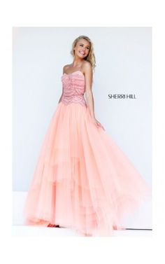 2014 Sherri Hill 11082 Scalloped Beaded Gown Pink