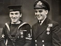 Submarine heroes: Leading Seaman James Magennis VC and Lieutenant Ian Fraser VC outside Buckingham Palace in July 1945
