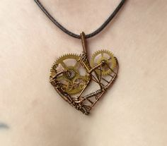 Small Gear Heart Steampunk Pendant by MelsMakeBelieve on Etsy, $28.00