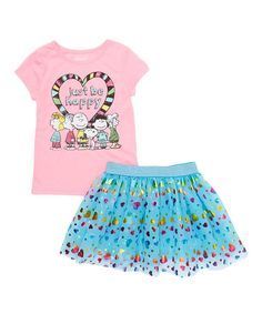 Loving this Ultra Pink Peanuts® Tee & Aqua Skirt - Toddler & Girls on #zulily! #zulilyfinds